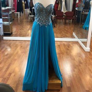 Aqua nude prom dress with rhinestones and beads